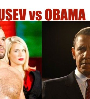 Barack Obama (right) intends to win the New Cold War against Rusev.