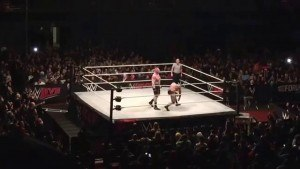 Brock Lesnar performs in the opening match at a WWE house show, losing to Tye Dillinger.