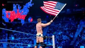 Wrestler waving American flag.