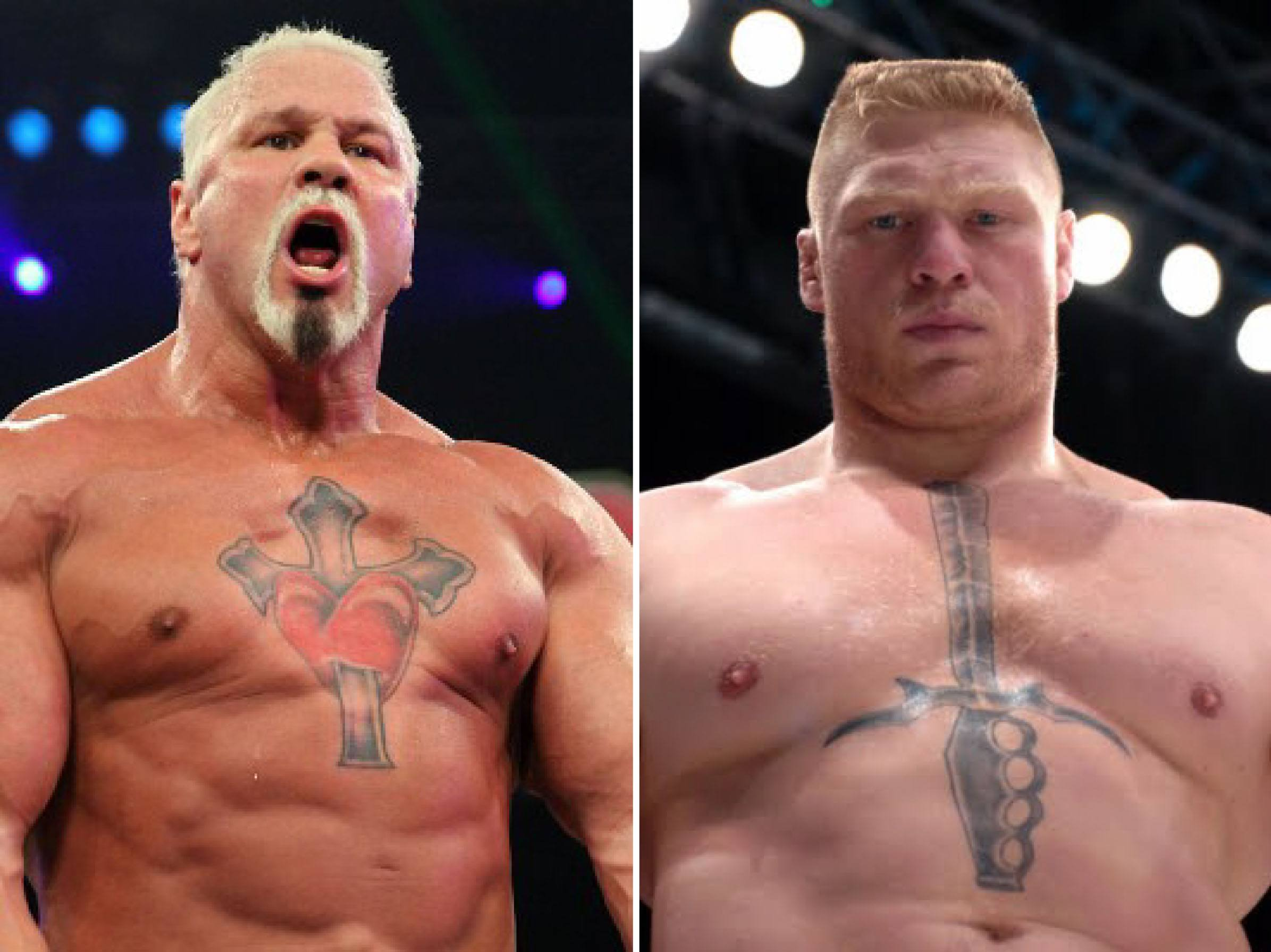 lesnar and steiner argue over whose chest tattoo is uglier