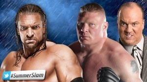 HHH BROCK 300x168 Guy who hasn't wrestled since April to face guy who hasn't won a wrestling match in seven years