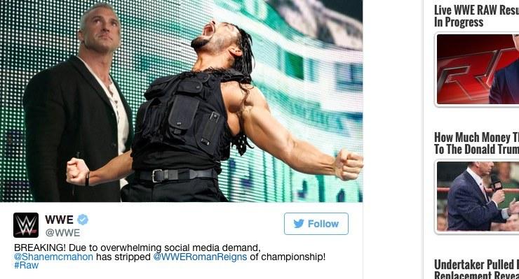 В связи с огромной поддержкой фанатов в социальных сетях,Рейнс лишен титула