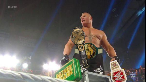 lesnar with belts